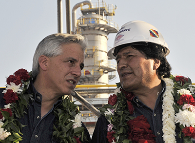 Vice President Álvaro García Linera, left, and President Evo Morales, right, at a gas plant in Bolivia earlier this month. The pair were voted in for a third term on October 12. (AFP/Aizar Raldes)