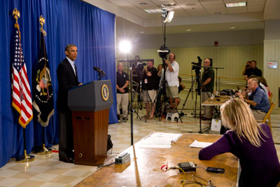 President Barack Obama speaks to journalists in Edgartown, Mass. in August. (AP/Jacquelyn Martin)