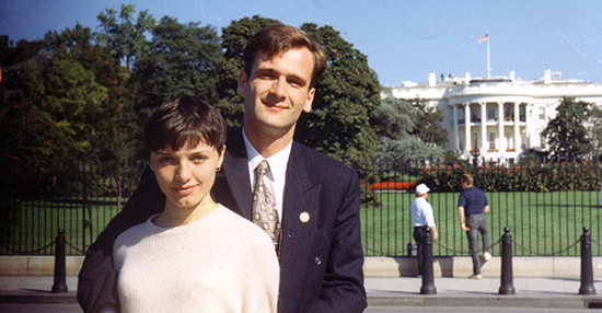 Ukrainian journalist Georgy Gongadze and his wife, Myroslava, pose for a photograph in 1995. Georgy Gongadze was killed in 2000. (AP/Gongadze family photo)
