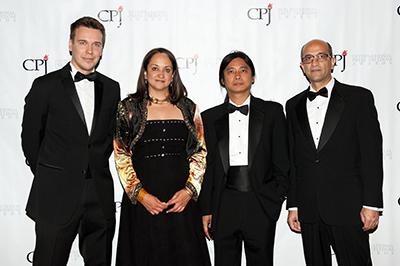International Press Freedom Awardees, from left, Mikhail Zygar, Ferial Haffajee, Aung Zaw, and Siamak Ghaderi. (Getty Images/Bryan Thomas)