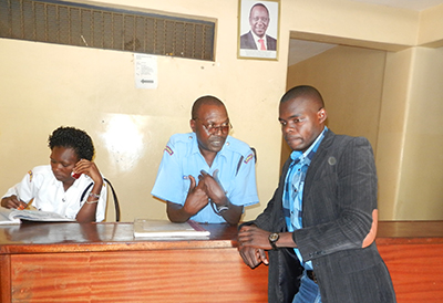 Justus Ochieng at the Central Police Station in Kisumu. The journalist has been threatened and harassed in recent weeks. (The Star)