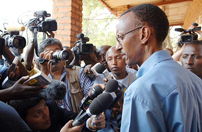Members of the press with President Kagame. Media regulations have been loosened in Rwanda but journalists say self-censorship is still prevalent. (Reuters/Munyarubuga Fred/Presidential Press Unit/Handout)