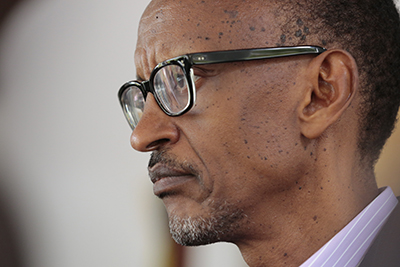 President Paul Kagame in Kigali on April 6, 2014. Under the country's penal code, anyone found guilty of insulting him faces up to five years in jail. (AFP/Handout/UN/Evan Schneider)