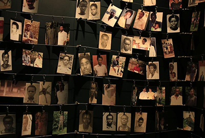 Photographs of some of the 800,000 victims of the 1994 genocide. The 20th anniversary of the massacres was marked in 2014. (Reuters/Noor Khamis)