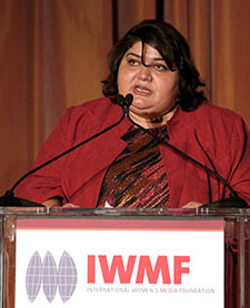 Khadija Ismayilova, who has been jailed for two months pending trial, speaks here at the 2012 Courage in Journalism Awards hosted by the International Women's Media Foundation. (AP/Invision/Todd Williamson)
