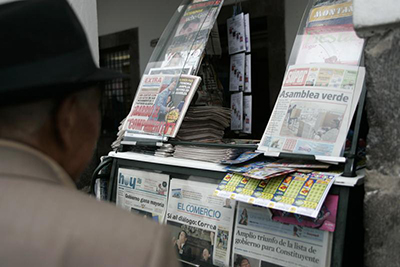 Newspapers on sale in Ecuador's capital, Quito. Proposals to classify communications as a public service have led to concerns over press freedom. (Reuters/Guillermo Granja)