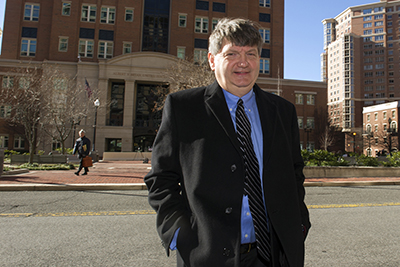 James Risen outside court on January 5. The Department of Justice has withdrawn its subpoena of the New York Times reporter. (AP/Cliff Owen)
