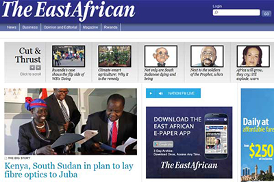 The home page of The East African's website, whose print version has been banned from circulation in Tanzania. (The East African)