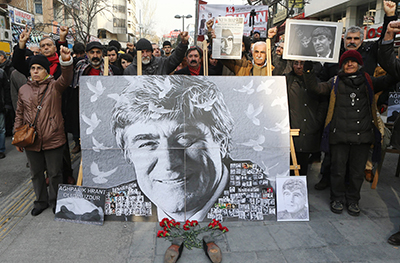 A rally demanding justice for Hrant Dink is held in Ankara on January 19 to mark the eighth anniversary of the journalist's murder. (AFP/Adem Altan)