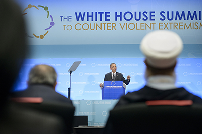 President Obama speaks at the summit to counter violent extremism in Washington, D.C. on February 19. (AFP/Brendan Smialowski)