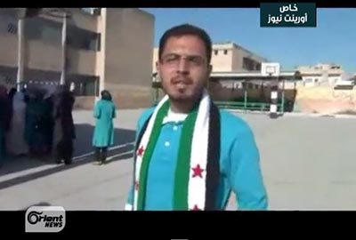 Zakwan Hadid reports for Orient News about events in his hometown of Maarat al-Nu'man. (YouTube)