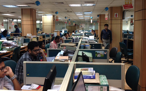 The Dhaka offices of Prothom Alo, a popular Bangla-language daily. Editor Matiur Rahman says his staff have faced dozens of legal challenges. (CPJ/Sumit Galhotra)
