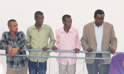 The four radio journalists, seen in court in Mogadishu. From left: Mohamud Mohamed Dahir, Mohamed Bashir Hashi, Ahmed Abdi Hassan, and Abdimalik Yusuf Mohamed. (Radio Kulmiye)