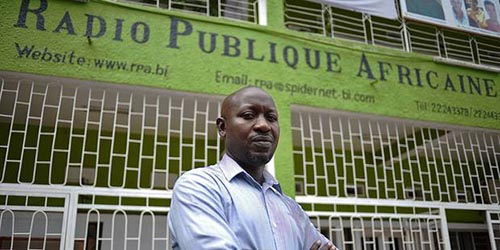 Police in the capital, Bujumbura, have cut the transmission of Radio Publique Africaine, according to RPA Director Bob Rugurika, seen here.