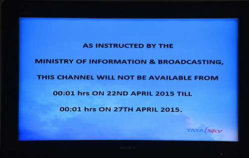 Viewers wanting to watch Al-Jazeera in India this week are greeted with a message, above, explaining the news outlet has been banned for five days. (AFP/Chandan Khanna)