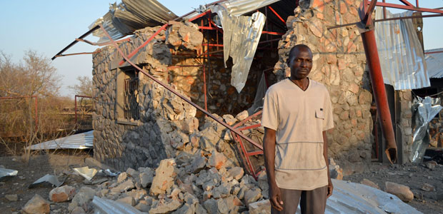 The rubble of a school bombed by the Sudanese government in 2012. To set up a news agency to cover the conflict, humanitarian worker Ryan Boyette used crowdfunding. (AP/Ryan Boyette)