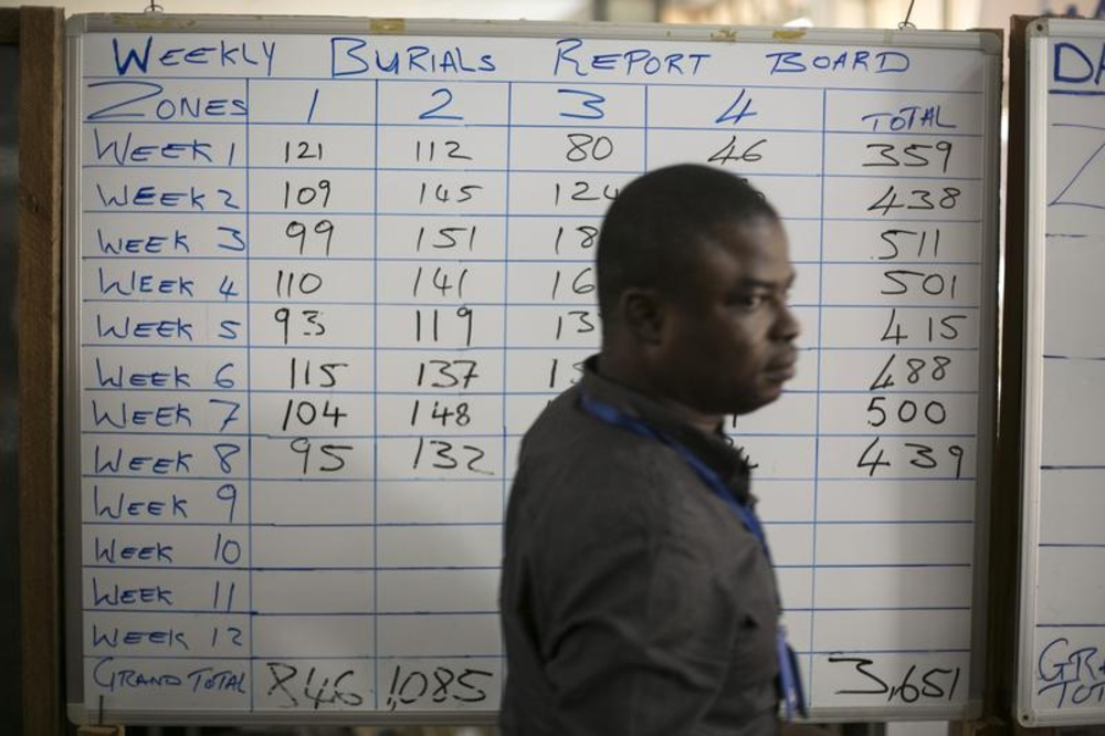 A man walks past a burial report including known Ebola cases at the Western area emergency response center in Freetown, Sierra Leone, on December 16, 2014.