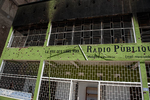 The damaged offices of African Public Radio, one of at least five Burundian stations attacked during violence over an attempted coup. (AFP/Jennifer Huxta)