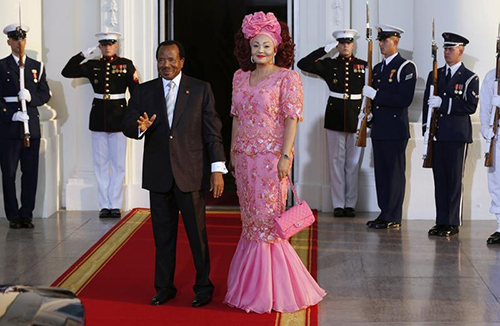 President Paul Biya and his wife, Chantal, at the U.S.-Africa Leaders Summit in Washington, D.C. in 2014. Cameroon's government is seen by some journalists as being sensitive to criticism. (Reuters/Larry Downing)