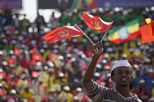 A rally for the ruling Ethiopian People's Revolutionary Democratic Front in Addis Ababa. The general election is on May 24 but with a diminished press, many voters struggle to find independent information. (AFP/Zacharias Abubeker)