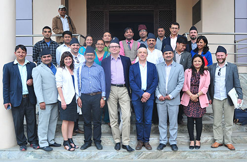 Members of the Nepal International Media Partnership and Federation of Nepali Journalists during a trip in April to discuss challenges for the press. (Shaligram Tiwari/FNJ)