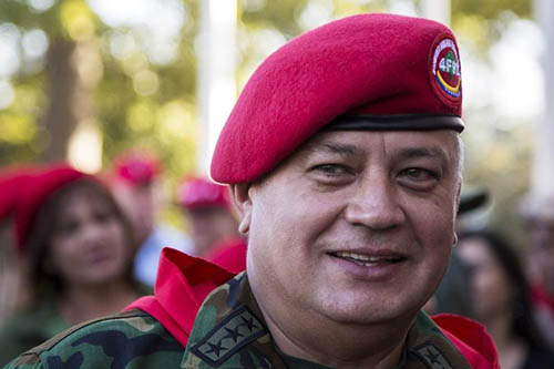 Diosdado Cabello, president of Venezuela's National Assembly, at a rally in Caracas in February. A judge has imposed a travel ban on 22 news executives named in a defamation lawsuit Cabello is filing. (Reuters/Marco Bello)
