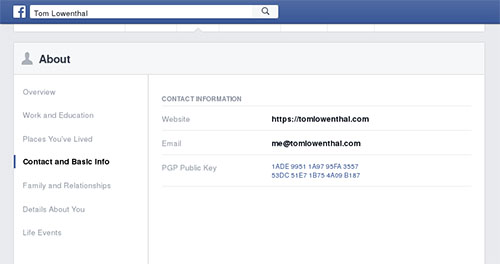 This view of profile page shows where Facebook users can add a public PGP key. The screenshot has been edited to hide the user's personal information. (CPJ)