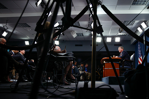 A press briefing at the Pentagon in April. Worrying guidelines on how the military can categorize the press during conflict are contained in the Defense Department's Law of War Manual. (AP/Andrew Harnik)