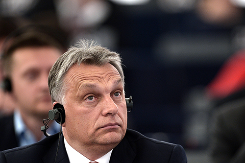 Viktor Orbán at a European Parliament debate about Hungary in May. His government has brought in a law that will make it harder for journalists and others to make Freedom of Information Act requests. (AFP/Frederick Florin)