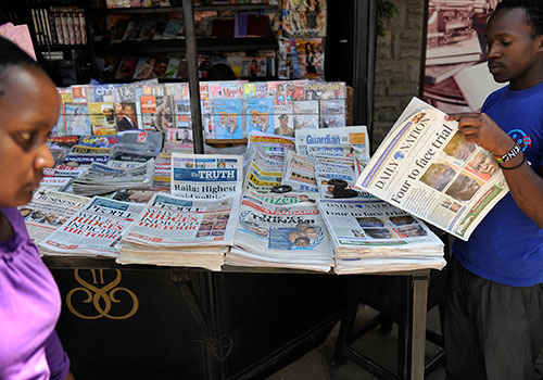 A news stand in Nairobi. Between January and May 2015, at least 19 threats or attacks against journalists were recorded. (AFP/Tony Karumba)