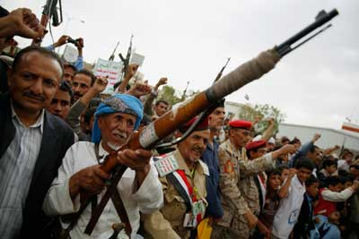 Shiite rebels known as Houthis rally against Saudi-led airstrikes in Sanaa, Yemen, on August 11. (AP/Hani Mohammed)