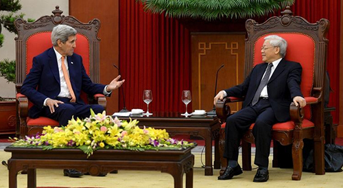Secretary of State John Kerry and Communist Party General-Secretary Nguyen Phu Trong in Hanoi on August 7. The U.S. and Vietnam are working on a strategic partnership. (Reuters/Hoang Dinh Nam/Pool)