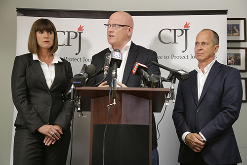 Sue Turton, Dominic Kane, center, and Peter Greste, at a press conference in CPJ's New York office. The Al-Jazeera journalists, who were convicted in absentia in Egypt, are calling on President el-Sisi to intervene in their cases. (AP/Julie Jacobson)