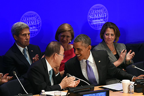UN Secretary-General Ban Ki-moon and President Barack Obama at a summit on countering violent extremism in September. Proposed measures rick curtailing press freedom. (AFP/Jewel Samad)