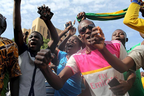 Residents protest over the coup in Ouagadougou in September. With many radio stations silenced during the unrest, pirate station Radio Resistance was a vital resource for news. (Reuters/Joe Penney)