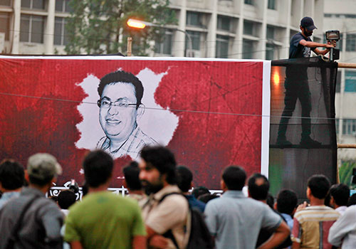 A mural for Avijit Roy in Dhaka, one of four bloggers murdered by extremists in Bangladesh this year. (AP/A.M. Ahad)