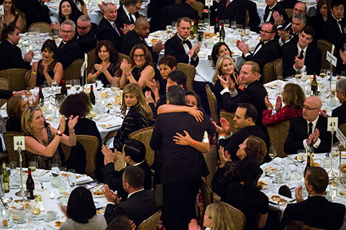 Reeyot Alemu and Mohamed Fahmy embrace at the International Press Freedom Awards in New York in November 2015. Reeyot served four years of a 14-year sentence in Ethiopia and Fahmy, of Al-Jazeera, was released from jail in Egypt in September 2015. (Michael Nagle/Getty Images for Committee to Protect Journalists).