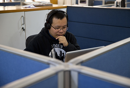 Li Xin talks to the AP over Skype in November. The journalist, who says he worked as an informant for Chinese authorities, went missing on January 10. (AP/Saurabh Das)