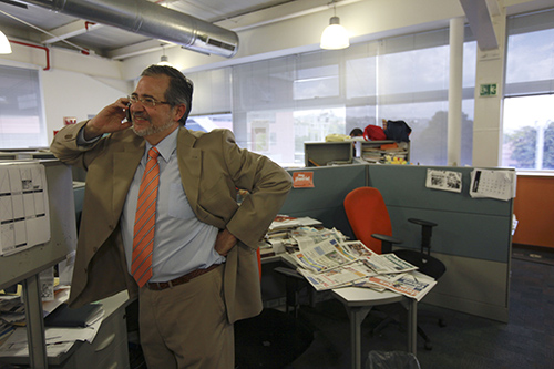 Editor Miguel Henrique Otero, pictured in El Nacional's Caracas office in 2010, has been managing the paper from exile after being accused of defamation. (AP/Fernando Llano)