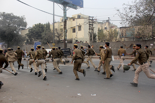Rahul says he heard police give the order to charge before rushing at students at the Delhi protest. (Rahul M.)