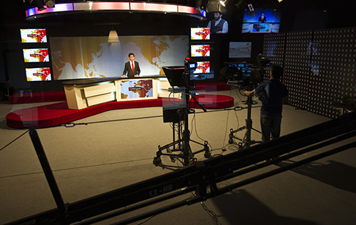 Tolo TV's news studio, pictured in 2010. Morale is high among staff at the Afghan station despite a deadly attack in January. (Reuters/Ahmad Masood)