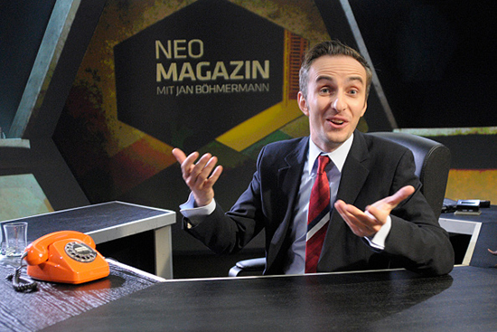 German television satirist Jan Böhmermann poses on set in an October 13, 2013, file photo (Spiegl Ullstein Bild/Getty).