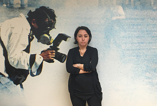 Sevgi Akarçeşme, pictured in CPJ's New York office, lost her job as editor-in-chief of Today's Zaman after the takeover, and receives harassing messages on social media. (CPJ/Kamal Singh Masuta)