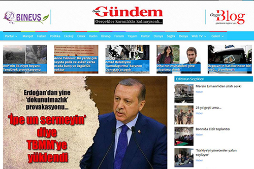 A screenshot of the front page of daily newspaper Özgür Gündem's website, April 11, 2016. A former editor of the pro-Kurdish daily says prosecutors brought 75 criminal cases against the newspaper in February and March 2016 alone.