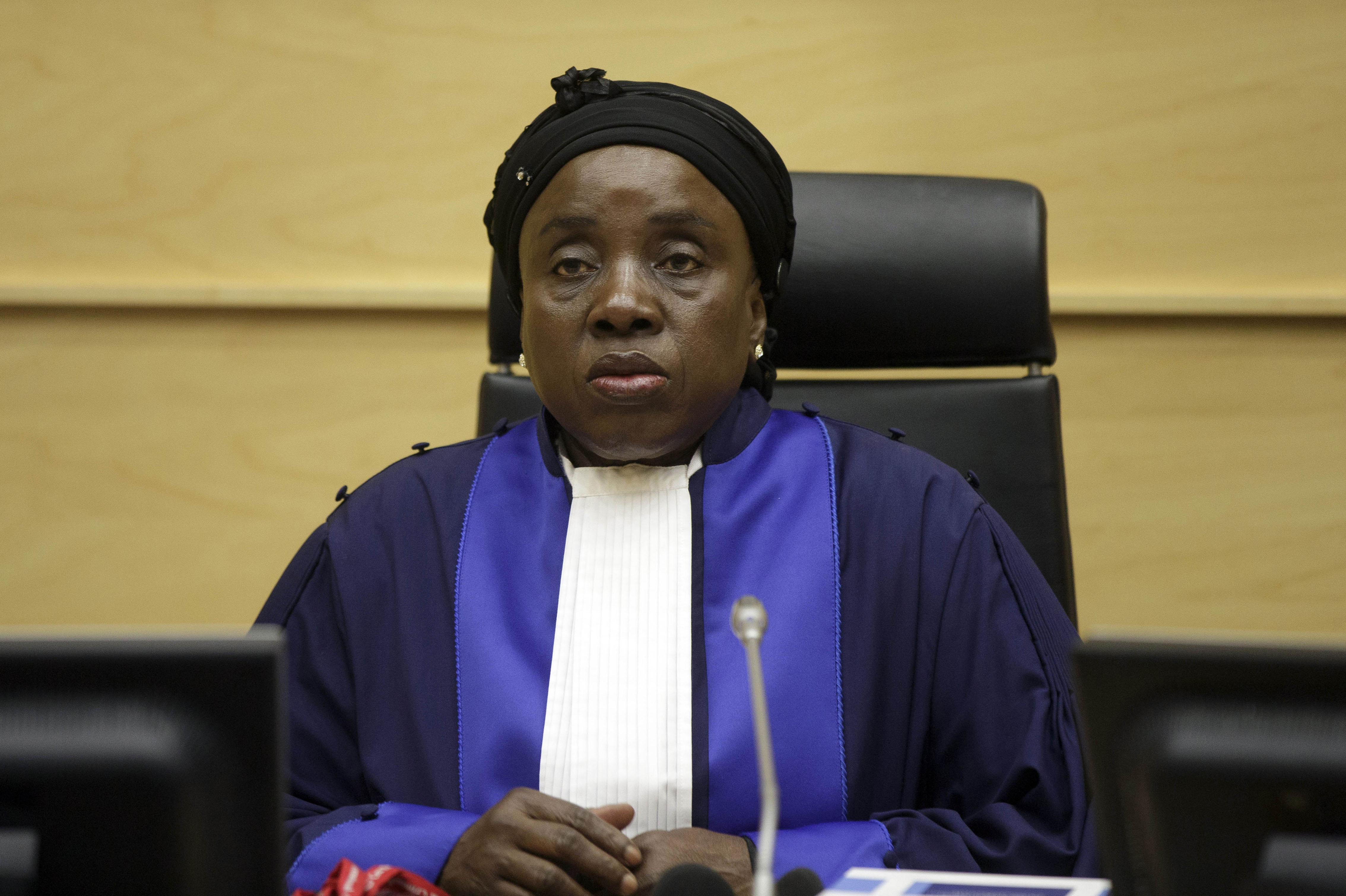 A judge sits at a hearing in the International Criminal Court in The Hague in March 2014. In conflict zones, it is not unusual for police, local militias, national armies, or foreign peacekeepers to be implicated in sexual assaults. (AP/Phil Nijhuis)