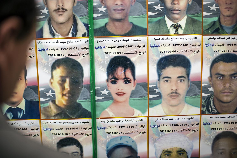 Photos de Libyens tués lors du siège de Misrata en 2011, affichées au Musée de la guerre à Misrata. Depuis le soulèvement, les femmes journalistes ont pris pleinement conscience de leur visibilité. (Iason Athanasiadis)