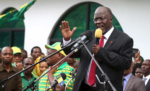 President John Magufuli, pictured after winning Tanzania's election last year. His party has halted the live coverage of parliament. (Reuters/Emmanuel Herman)