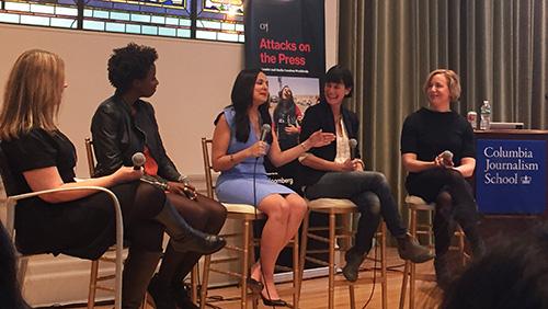 At Columbia University, CPJ Editorial Director Elana Beiser moderates a panel discussion between journalists Alexis Okeowo, Rawya Rageh, Scout Tufankjian, and Kim Barker. (CPJ/Peldun Tenzing)