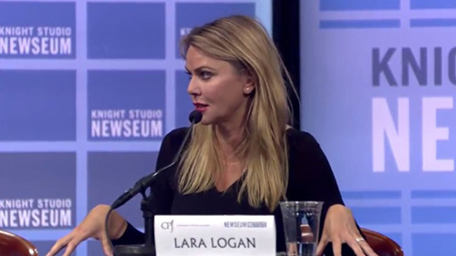 CBS News correspondent and CPJ board member Lara Logan speaks at a panel at the Newseum in Washington to launch CPJ's annual book 'Attacks on the Press.' (Still from Newseum livestream)