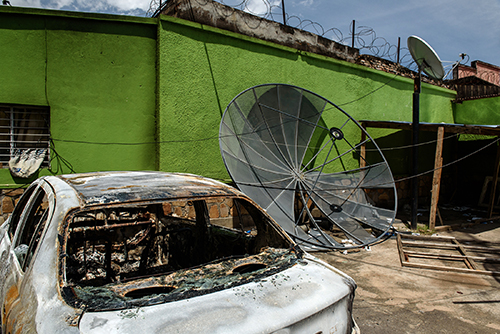 Damaged equipment outside the offices of Radio Publique Africaine in May 2015. More than 100 journalists are among those who fled violence in the country last year. (AFP/Jennifer Huxta)